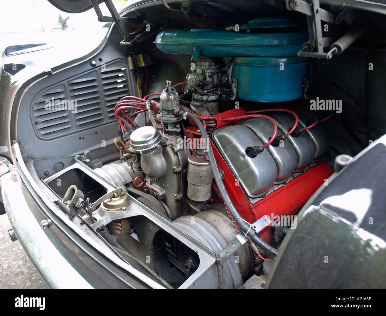The rear mounted air cooled 2.5 litre V8 engine of a Tatra 603 classic car - Stock Image