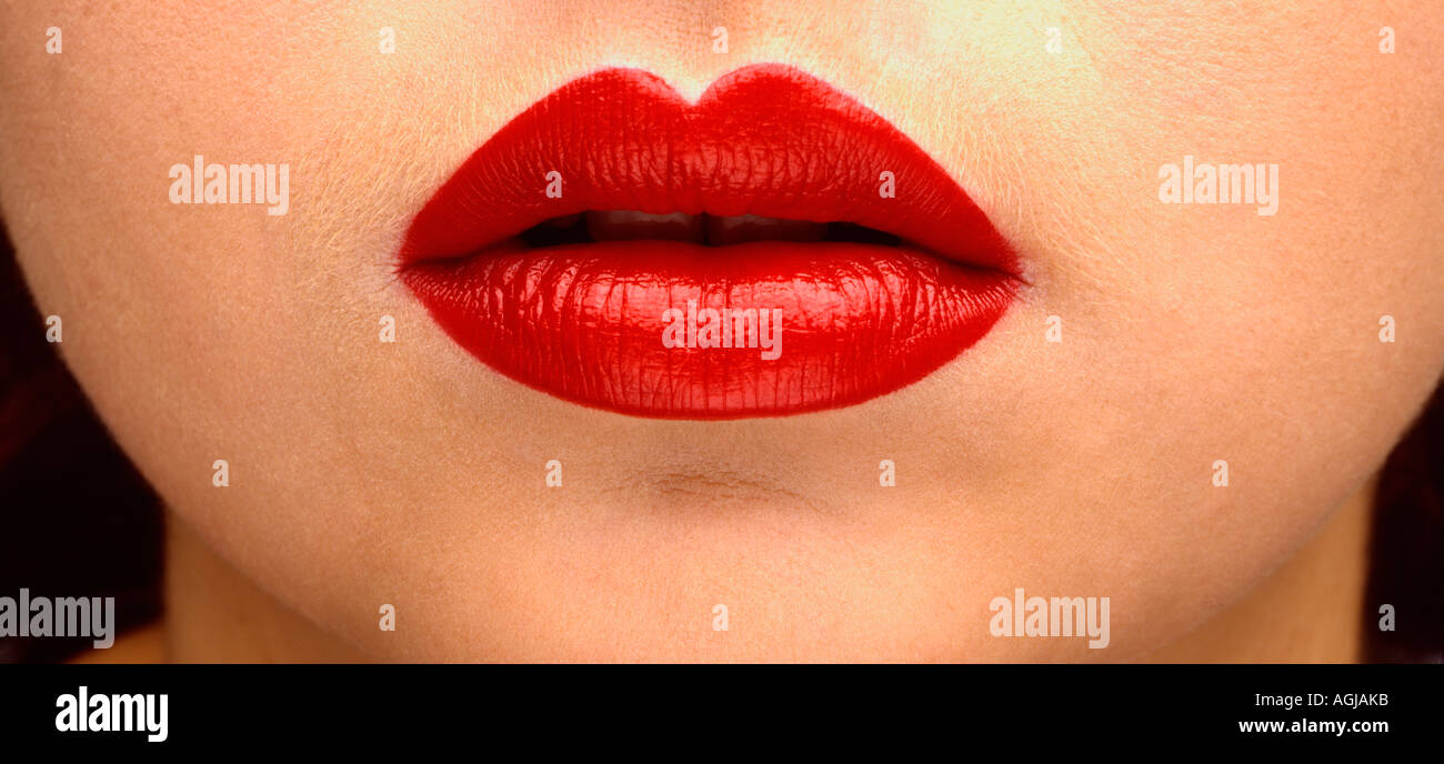 Full Red Womans Lips - Stock Image