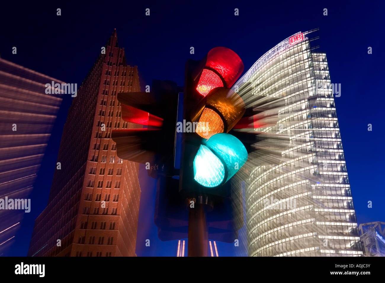 Modern skyscrapers off of Potsdamer Platz former site of part of the Berlin Wall Berlin Germany - Stock Image