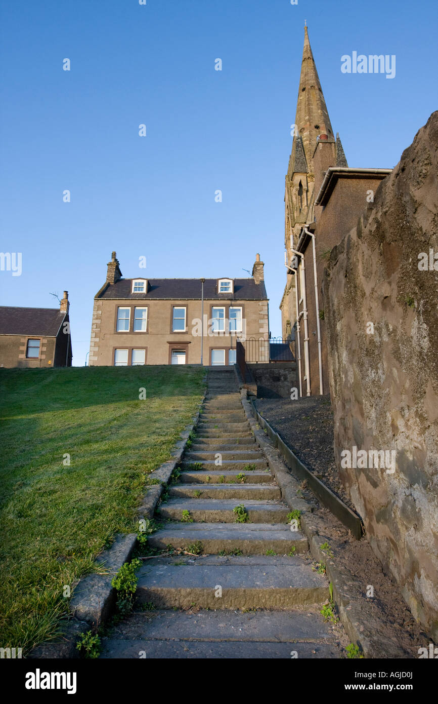 Steps down to the Cobby Tweed riverfront in Kelso Scottish Borders UK - Stock Image