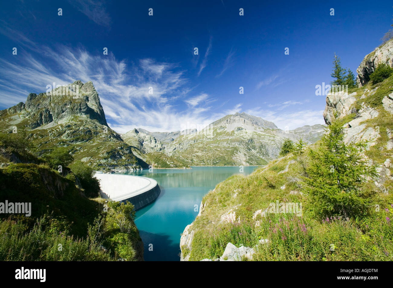 Lake Emerson on the Swiss French border dammed to generate hydro
