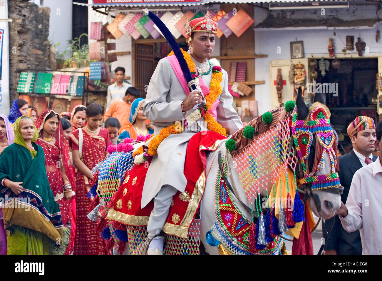 India Wedding Procession With Groom On Horse In Udaipur Rajasthan