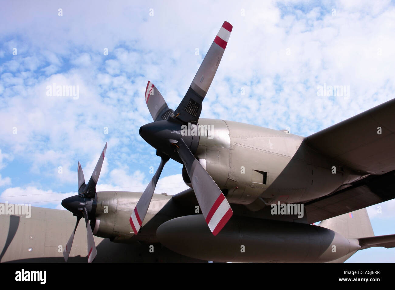 Two of the four turboprop engines of the Hercules C-130 Stock Photo