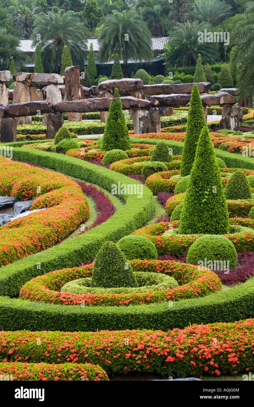 The French ornamental formal topiary Garden at Suan Nong Nooch or NongNooch Tropical Botanical Garden Resort, Chon Buri, Pattaya, Thailand, Asia