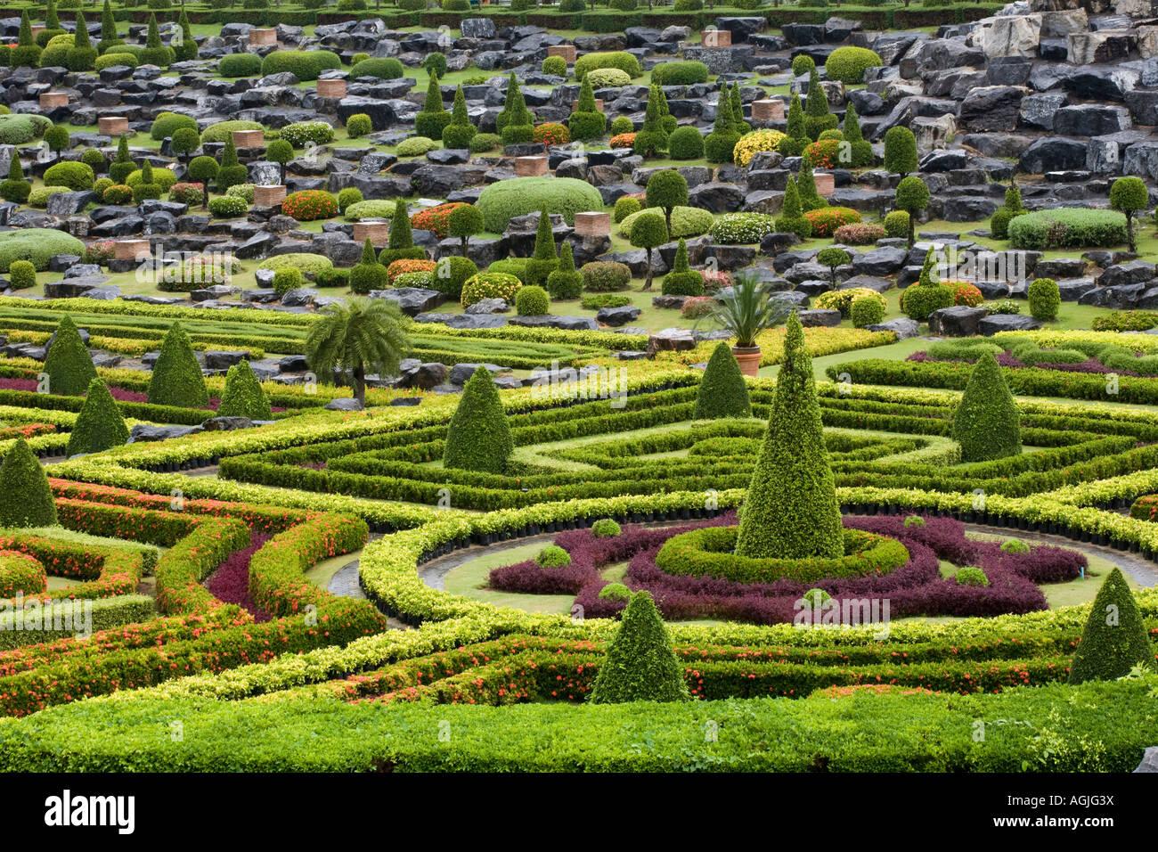The French Garden at Suan Nong Nooch or NongNooch Tropical Botanical Garden Resort, Chon Buri, Pattaya, Thailand, Asia