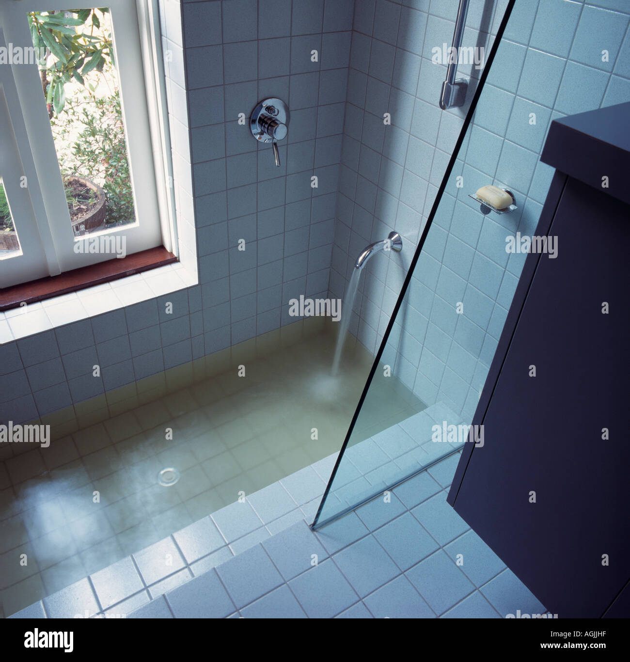Bathroom shower and sunken bath Stock Photo: 8128414 - Alamy