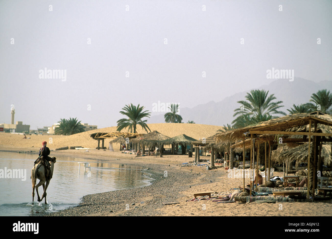 Sinai bedouin village Nuweiba at the Gulf of Acaba Stock Photo