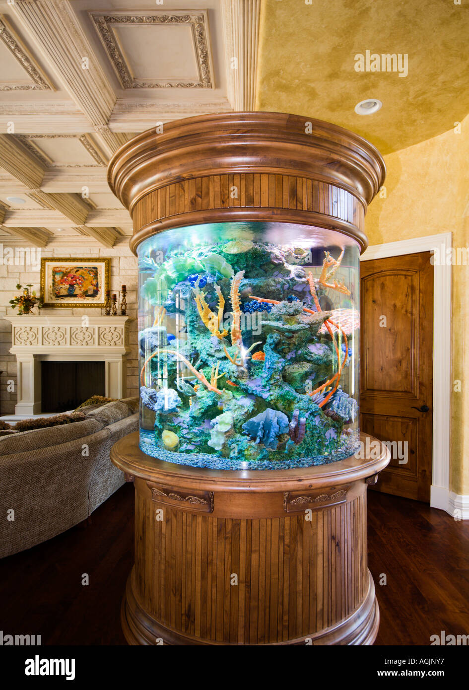 Circular freestanding saltwater aquarium with wood base and cap in an upscale home in the northwest suburbs of Chicago Illinois - Stock Image