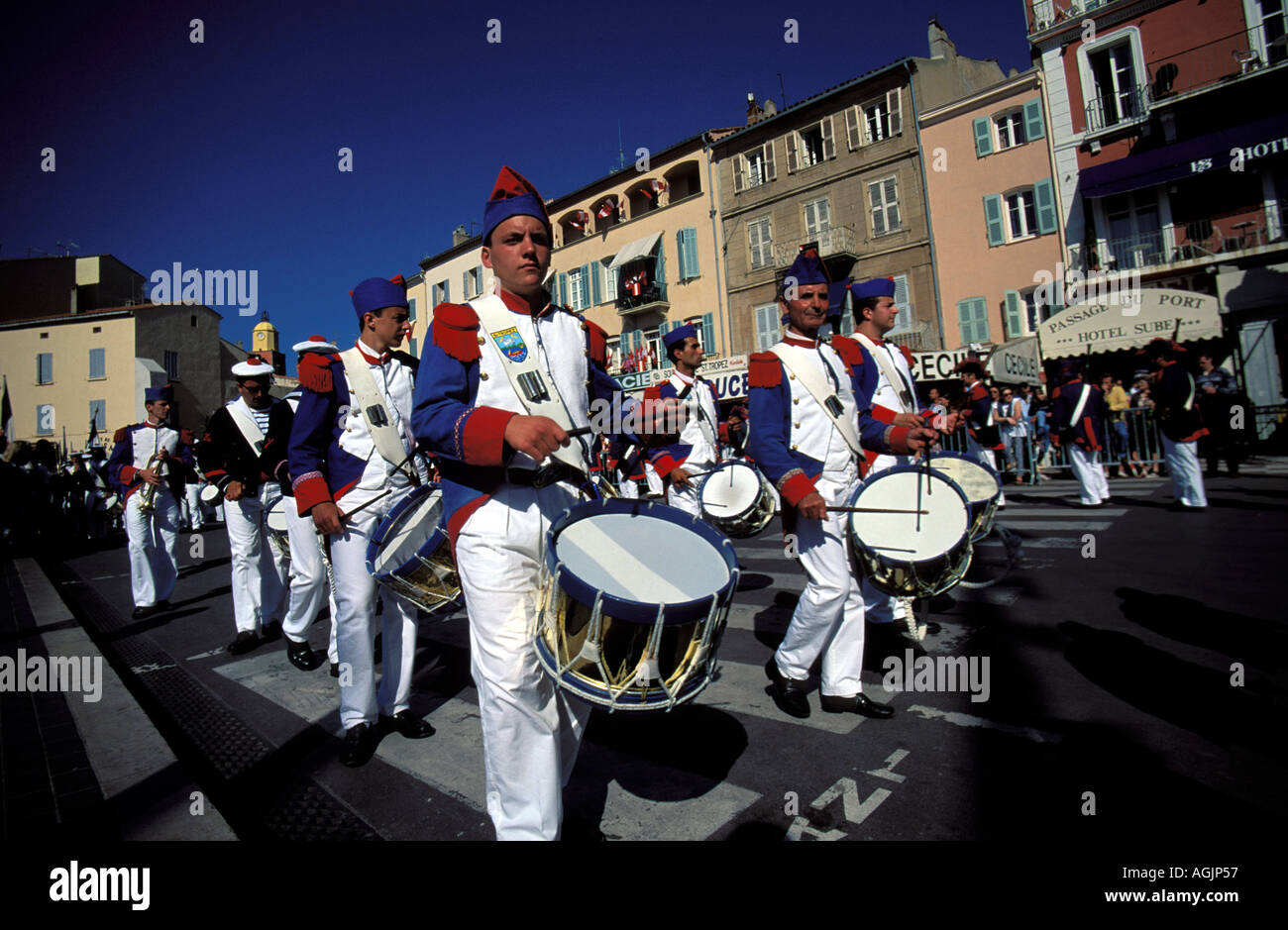 The Bravade of Saint Tropez a music band is part of the Patron Saint celebrations - Stock Image