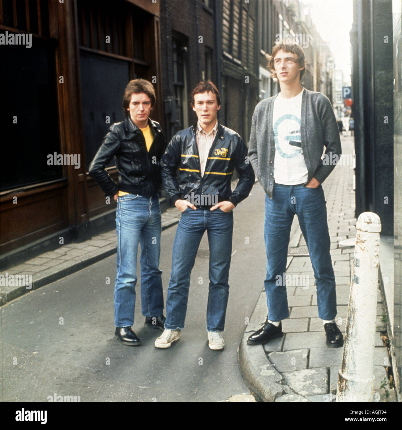 THE JAM UK group from l Bruce Foxton Rick Buckler and Paul Weller Stock Photo