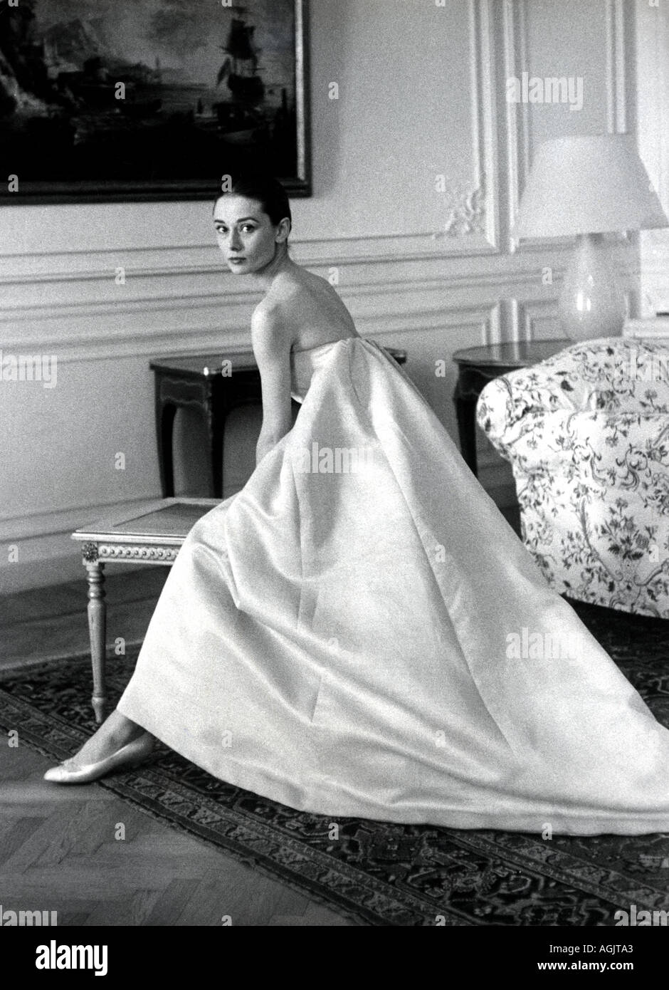 AUDREY HEPBURN film actress at the Givenchy fashion salon in Paris in the 1960s - Stock Image