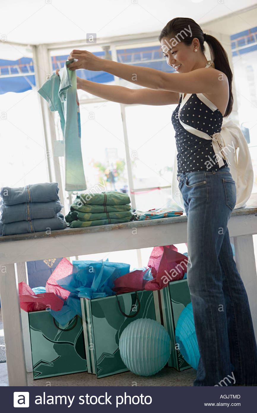 Woman clothes shopping - Stock Image