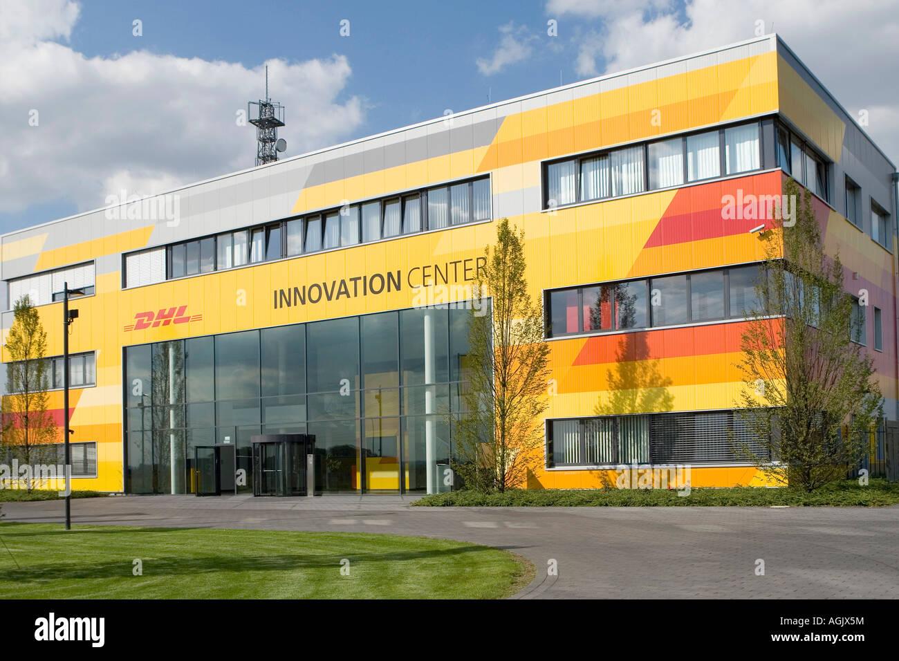 the dhl innovation center of the deutsche post world net in troisdorf stock photo 14227423 alamy. Black Bedroom Furniture Sets. Home Design Ideas