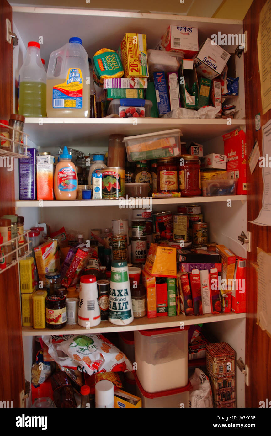 Over stocked larder in country home with teenagers dsc 0823 Stock Photo