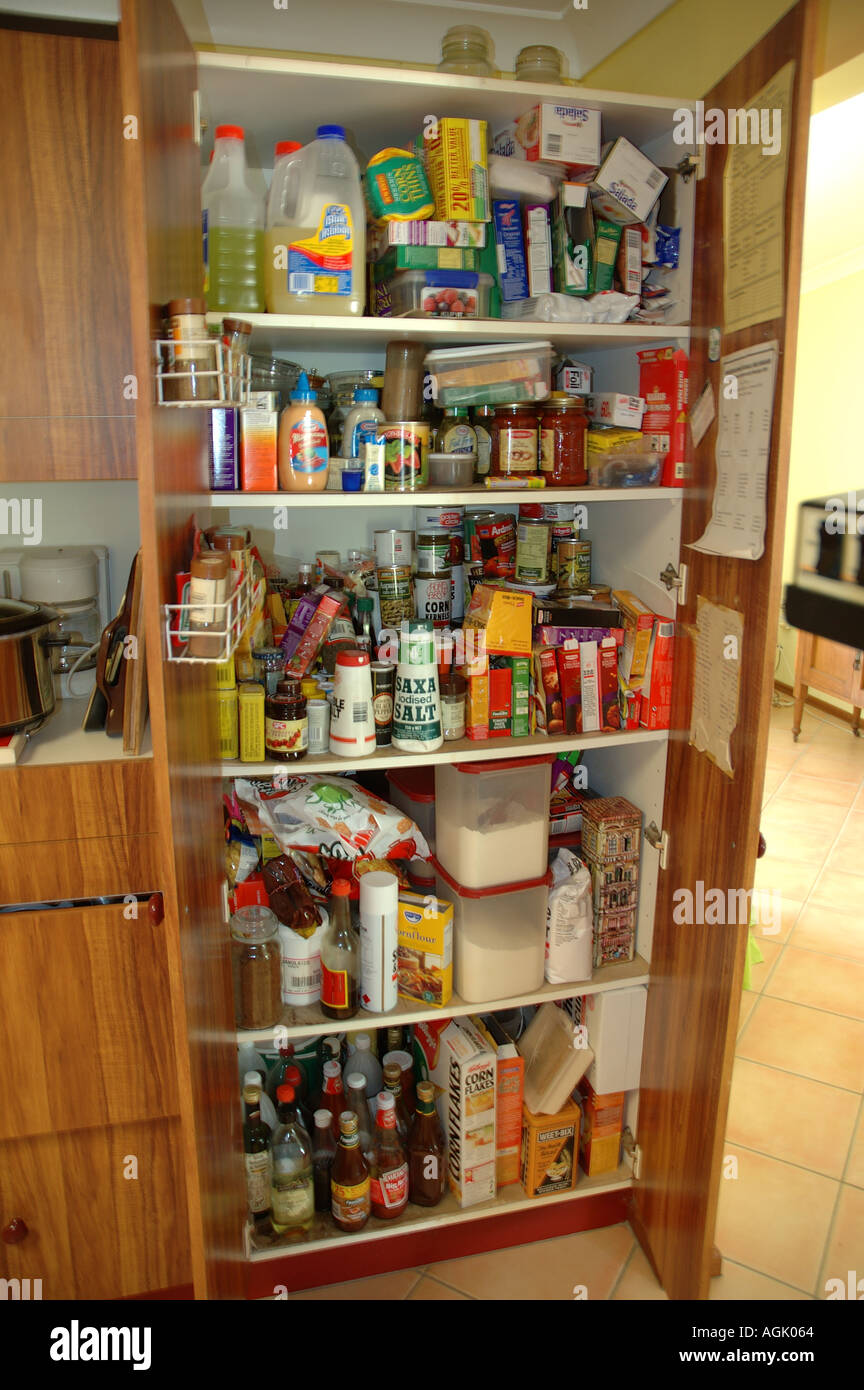 Over stocked larder in country home with teenagers dsc 0830 Stock Photo