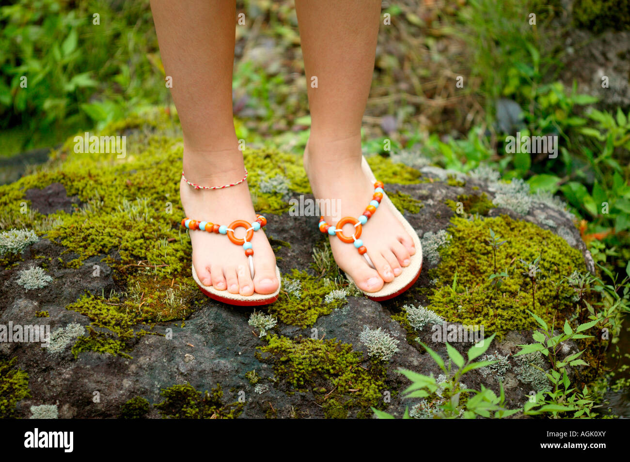 young girls feet in sandals stock photos young girls feet in