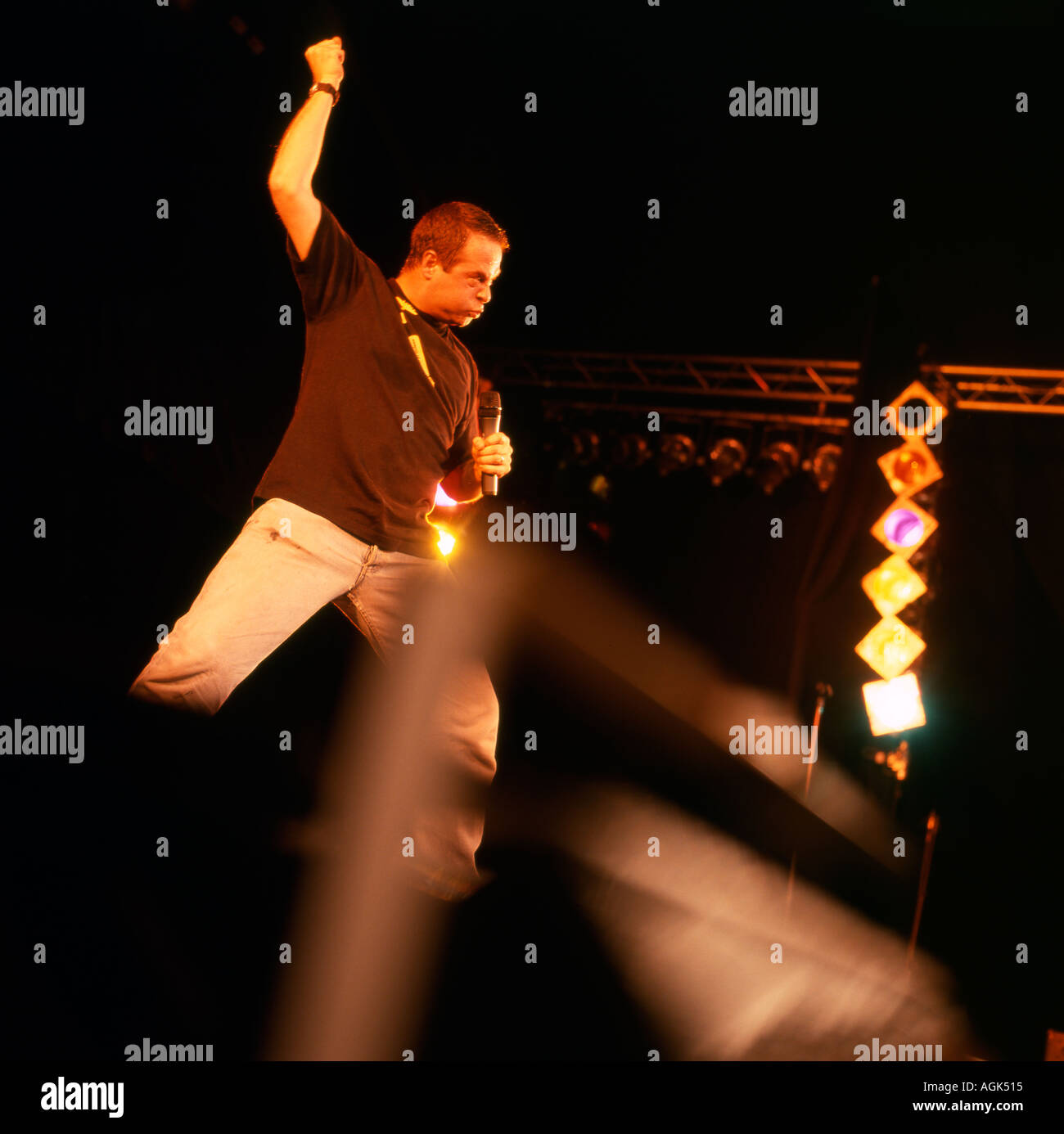 British comedian Mark Thomas performing at the Hay Festival of Literature Hay on Wye Powys Wales 2004 - Stock Image