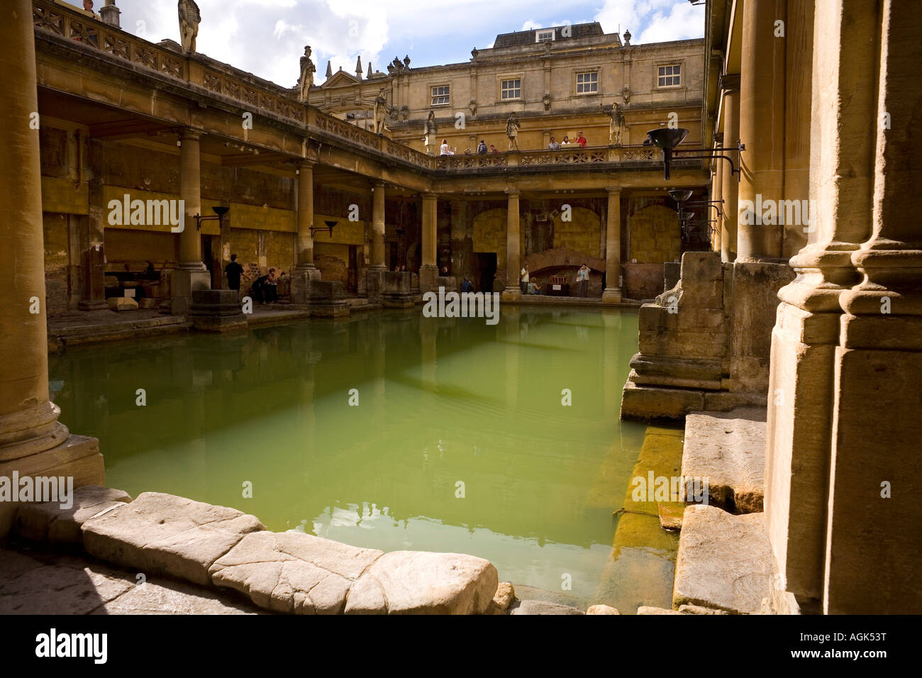 The Great Bath at the ancient site of The Roman Baths In Bath England - Stock Image