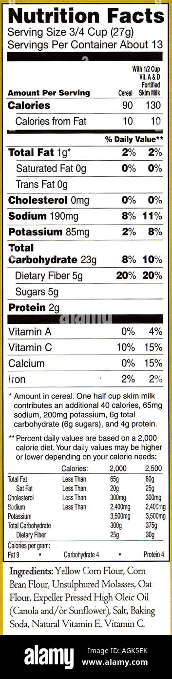 Nutrition Facts Label From A Box Of Puffins Cereal Stock Photo