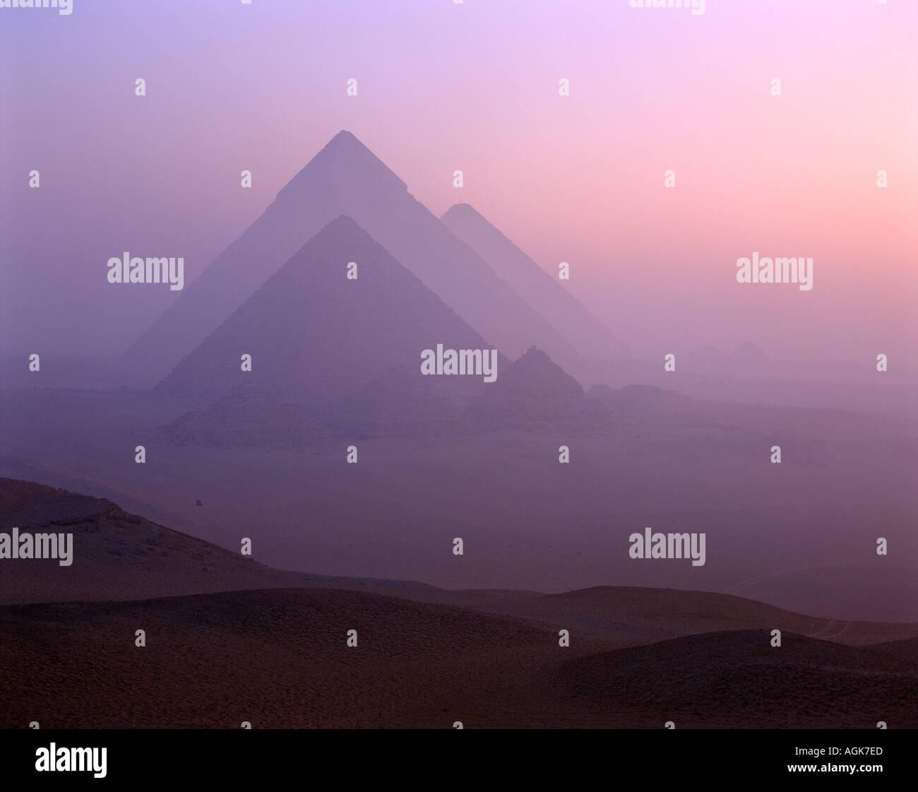 Pyramids at dawn Giza Egypt - Stock Image