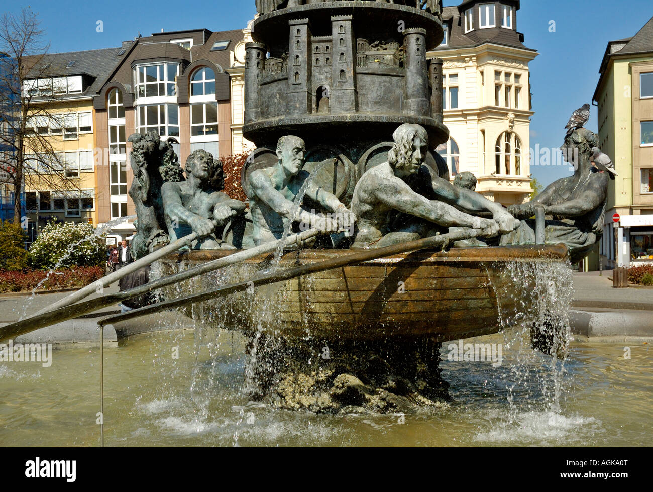 the koblenz history column fountain germany the wine ship at the stock photo 14231399 alamy. Black Bedroom Furniture Sets. Home Design Ideas