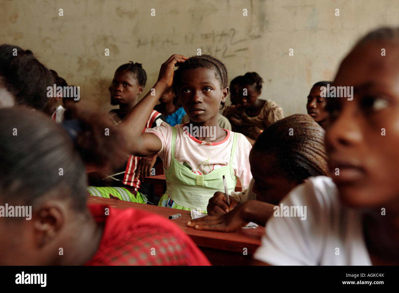 Students on the Accelerated Learning Programme at Zeah Town school which is supported by Save the Children Zeah - Stock Image