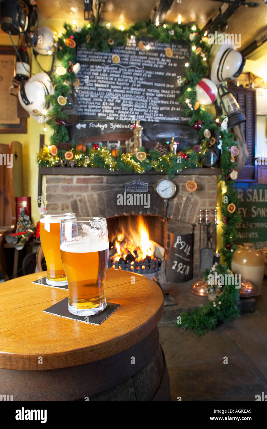 Christmas in a traditional old English country pub, UK - Stock Image