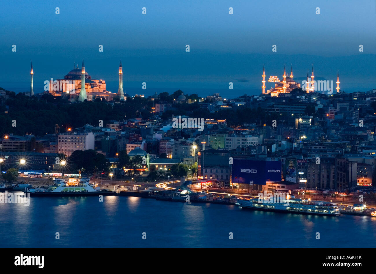 Hagia Sofia and Blue Mosque during el Aid Istanbul Turkey - Stock Image