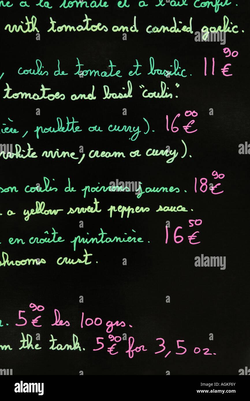 Blackboard Price List Stock Photos & Blackboard Price List Stock