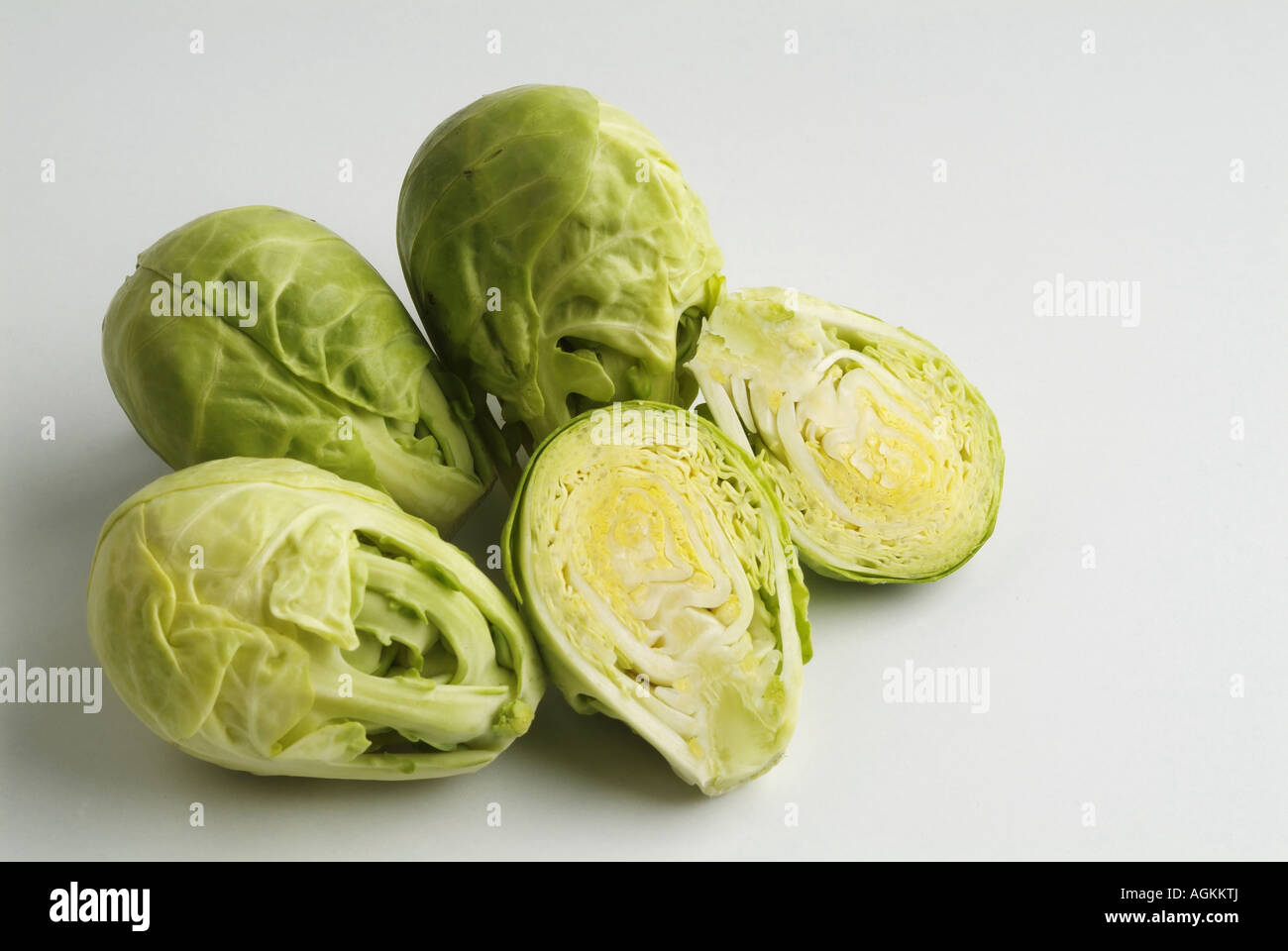Painet jn0901 brussels cabbage isolate background brussel closeup cook cooking diet eat food fresh green head health - Stock Image