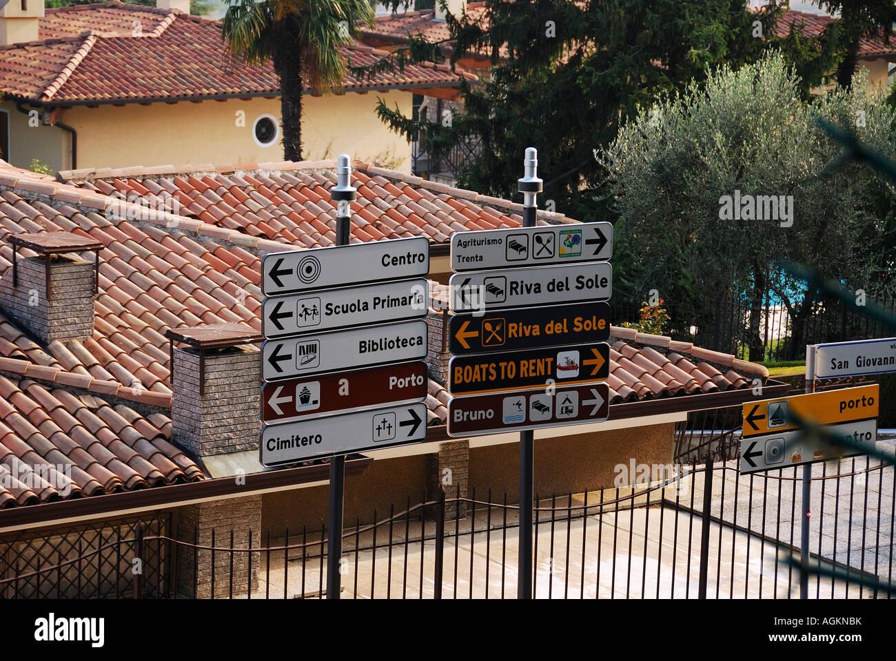 signs at moniga travel italy - Stock Image