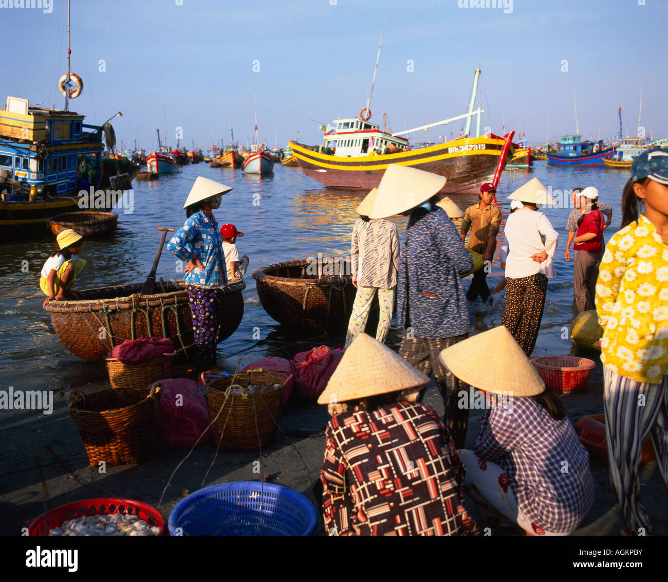 Fishing village people collecting the morning catch from fishing boat fleet Mui Ne south central coast Vietnam Indochina Stock Photo