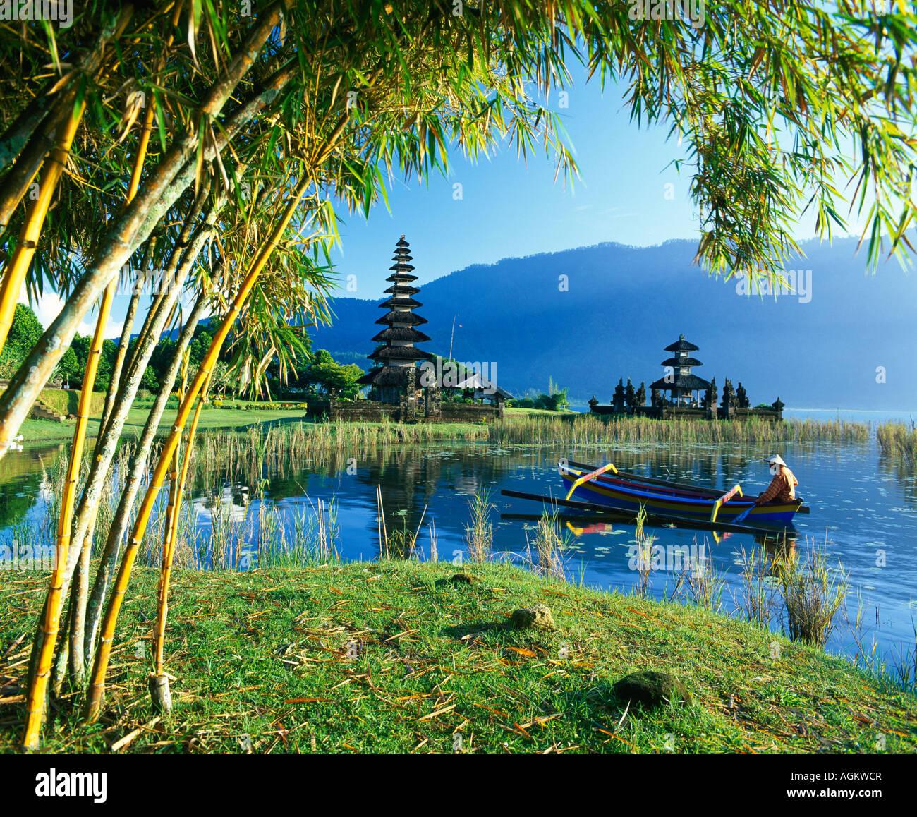 Ulu Danu Temple Lake Bratan Bali Indonesia Stock Photo