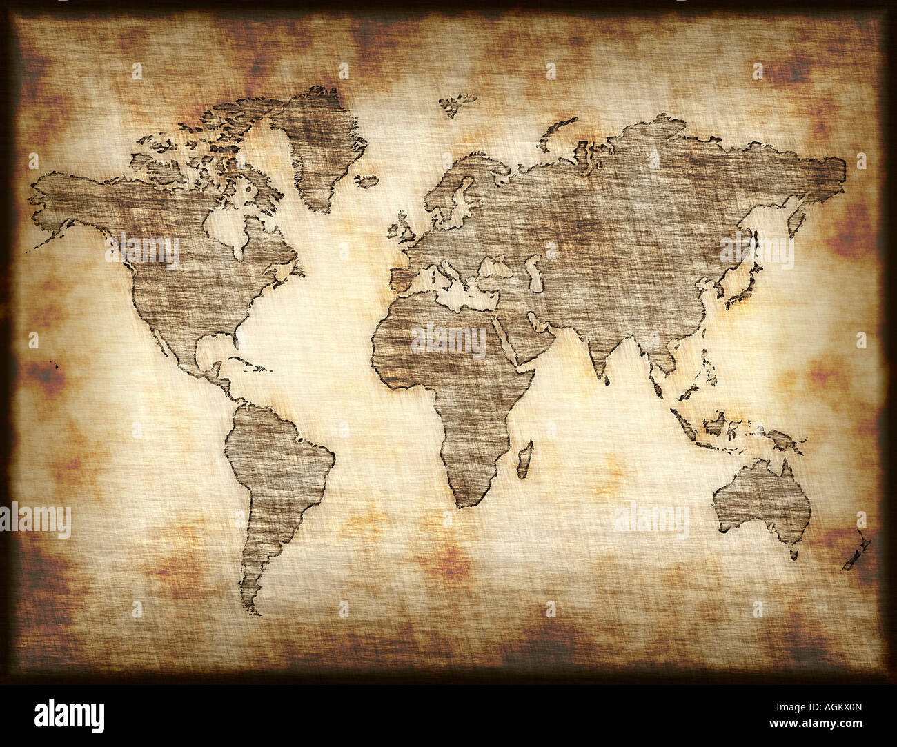 World map drawing stock photos world map drawing stock images alamy map of world drawn onto old mottled paper or cloth stock image gumiabroncs Images