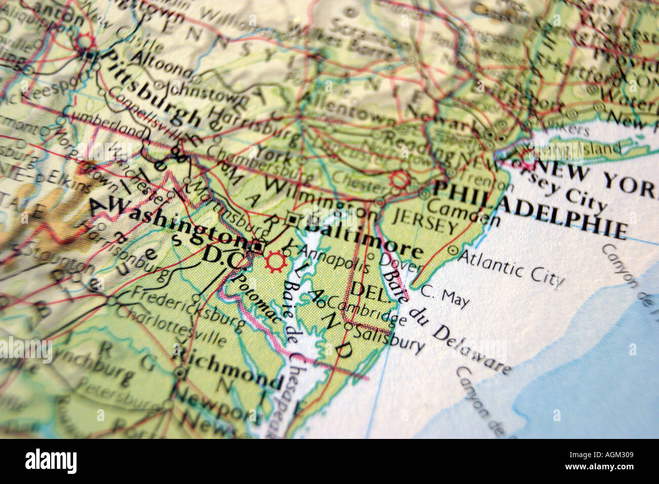 Close up map of east coast Stock Photo: 2638600 - Alamy