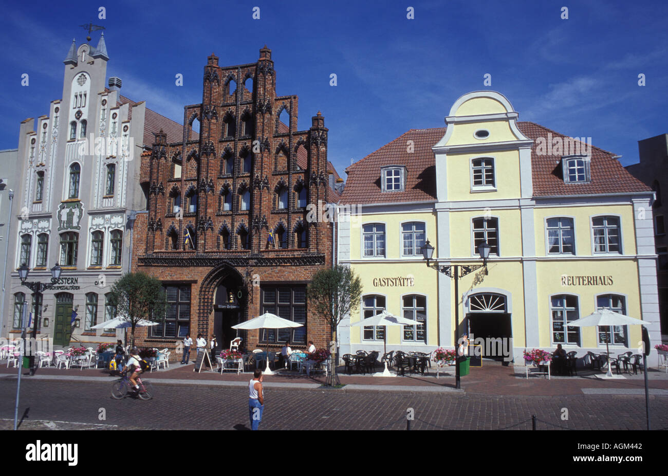 Famous bourgeois town houses at the market place of Wismar Mecklenburg West Pomerania - Stock Image
