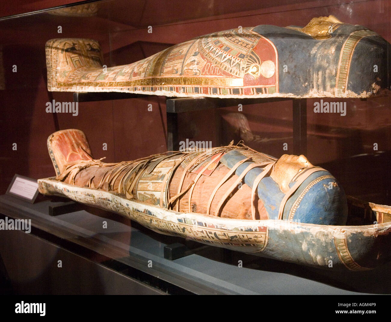 Mummy Case Casings in the Museum Alexandria Egypt - Stock Image