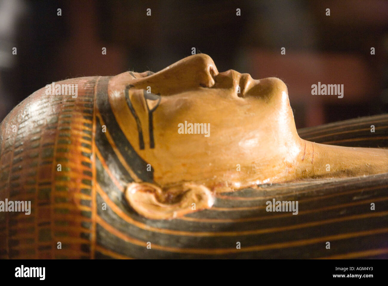 Mummy Case Casing in the Museum Alexandria Egypt - Stock Image