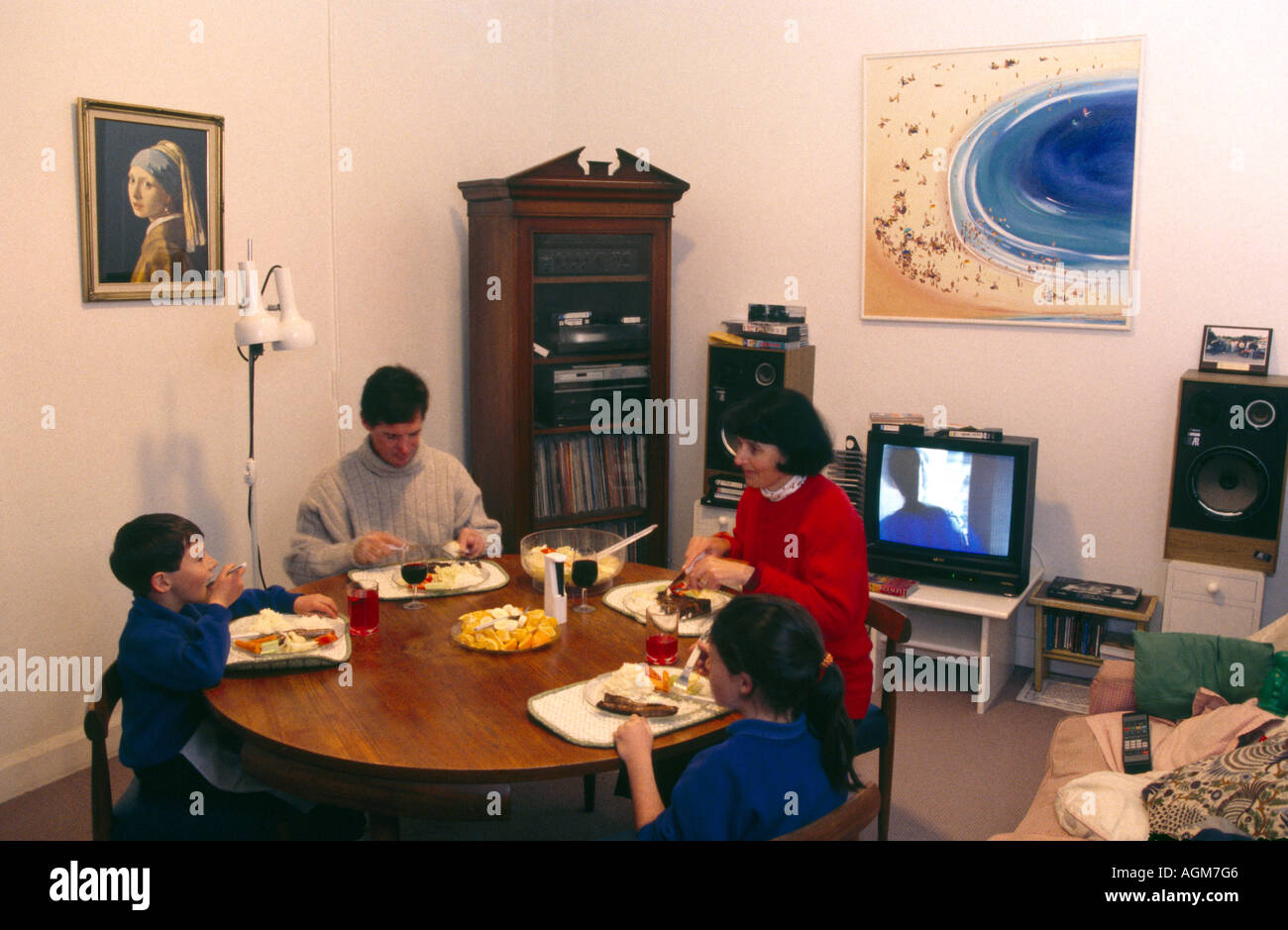 Cowra New South Wales Australia  Family Having Dinner - Stock Image