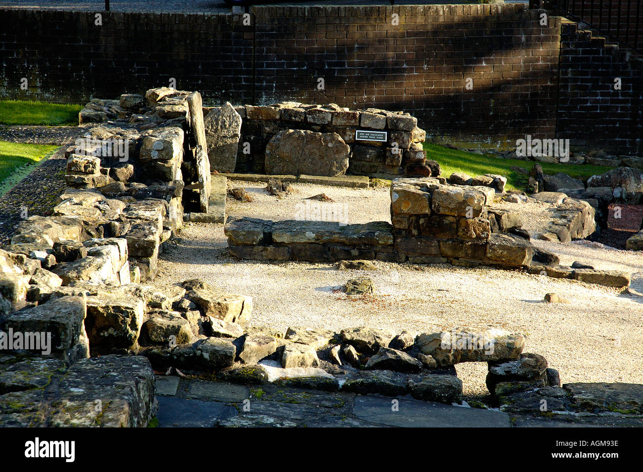 remains of Roman Baths showing warm air circulation ducts part of the Antonine Wall infrastructure Bearsden Scotland Stock Photo
