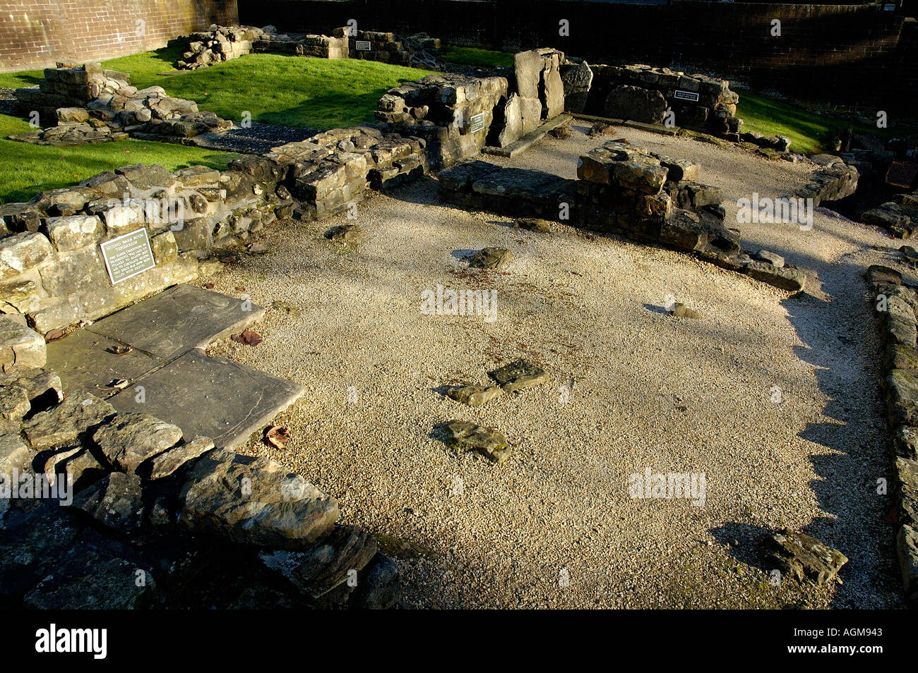 remains of the second warm room Roman Baths part of the Antonine Wall infrastructure Bearsden North Glasgow Scotland Stock Photo