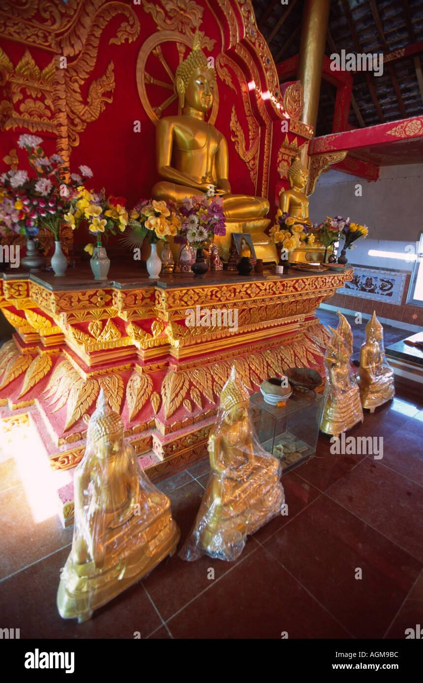 China Yunnan Xishuangbanna Gasa refurbished buddhist temple interior Stock Photo