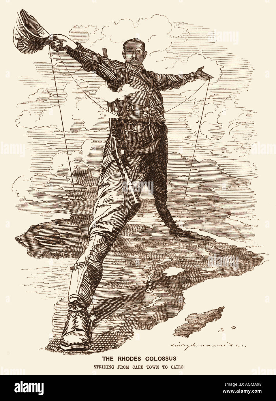 Cecil Rhodes, editorial cartoon, 1892 - Stock Image