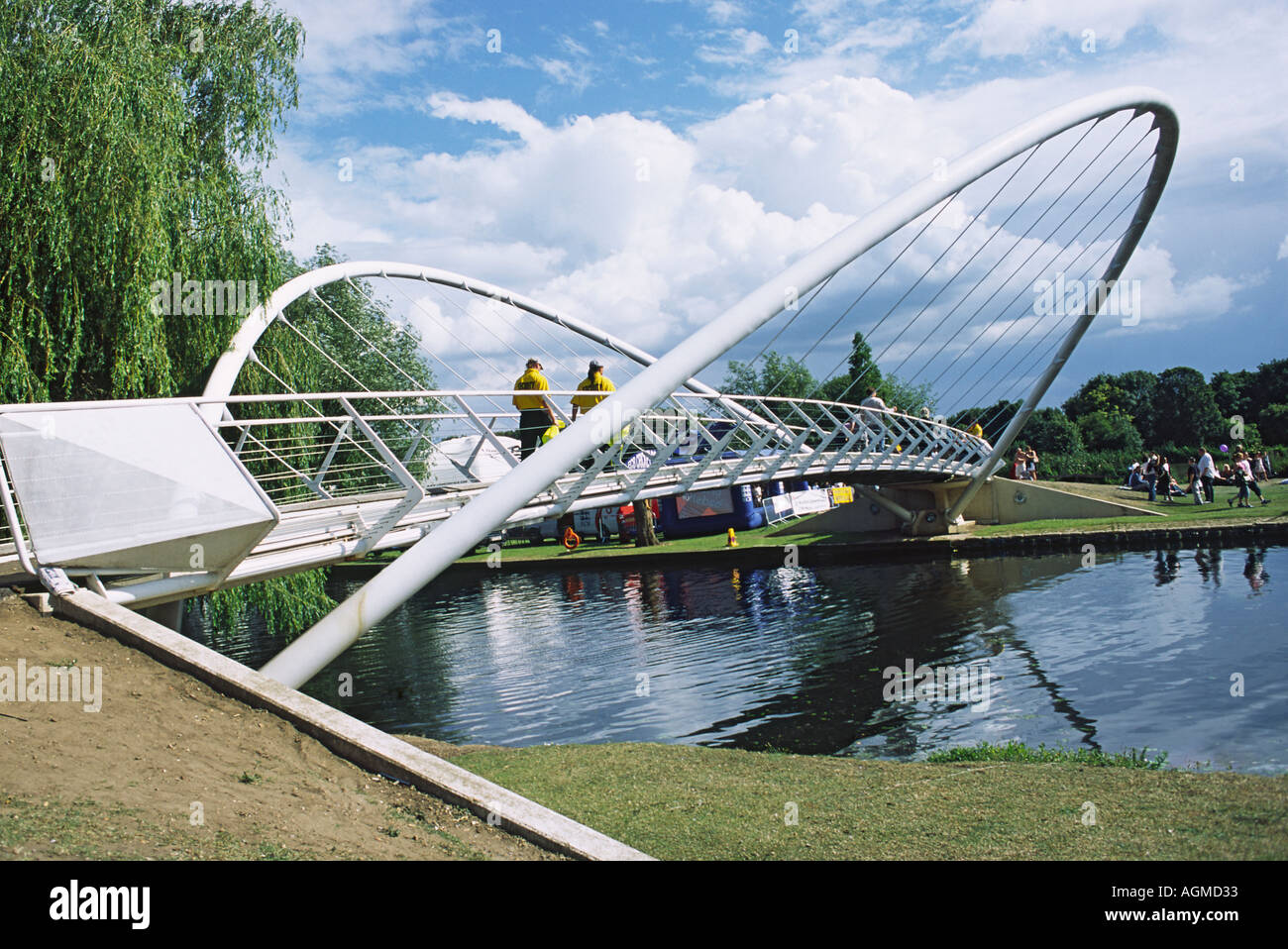 Butterfly Bridge Bedford 32 metre span Footbridge Opened in November 1997 - Stock Image