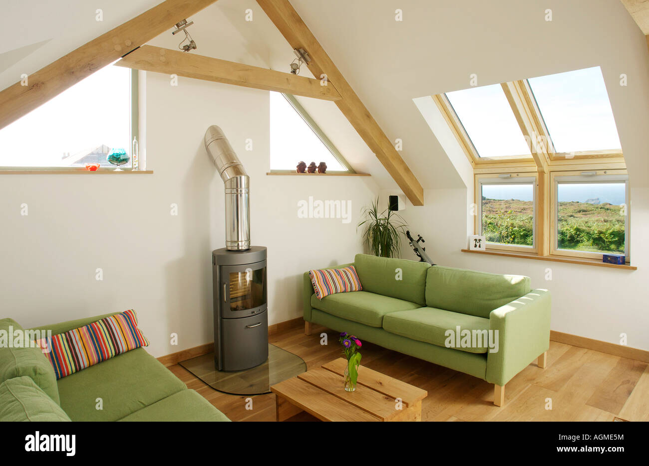 Loft conversion sitting room with skylight windows and - Loft and roomers ...