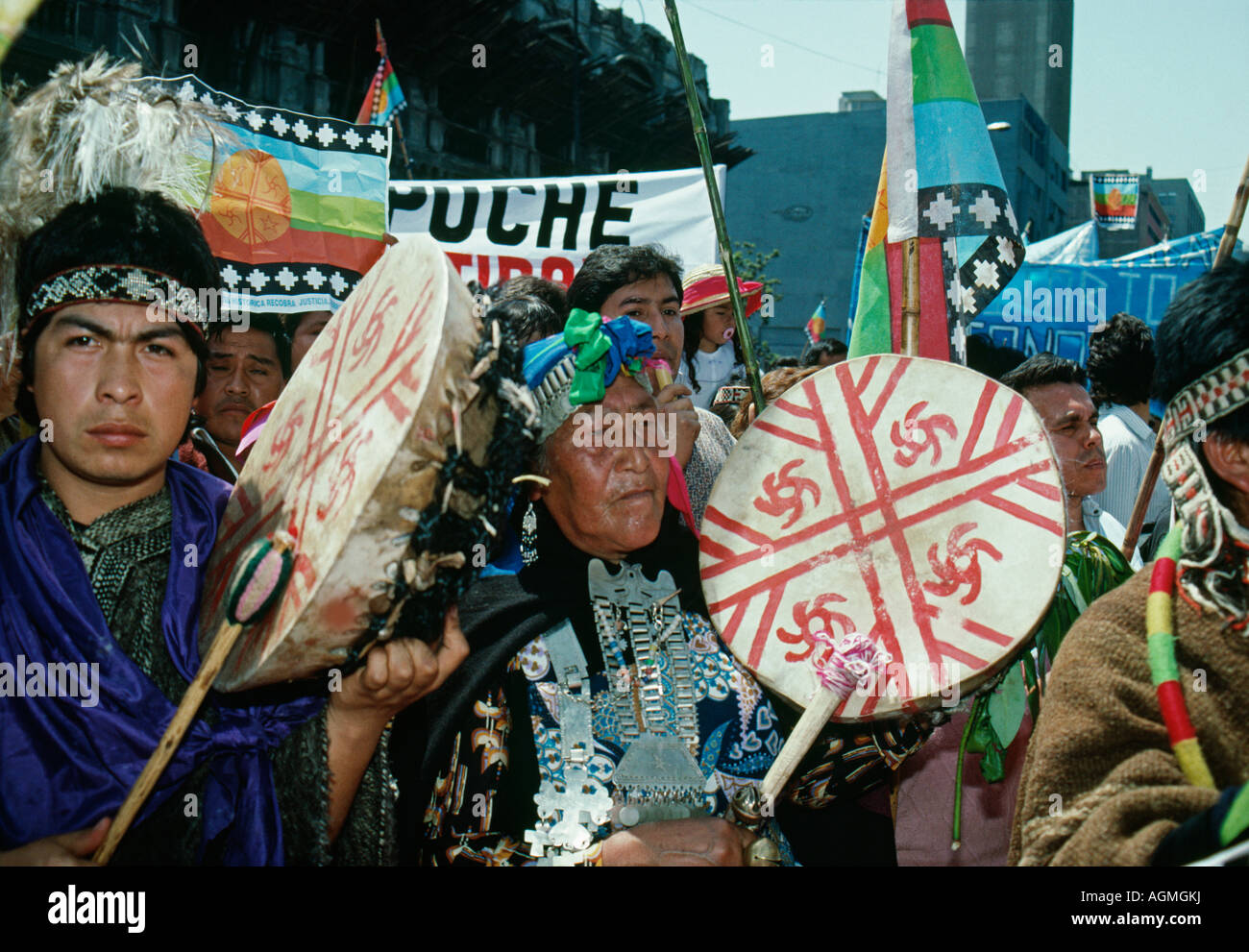 Chile, Santiago, Mapuche Indians demonstrating - Stock Image