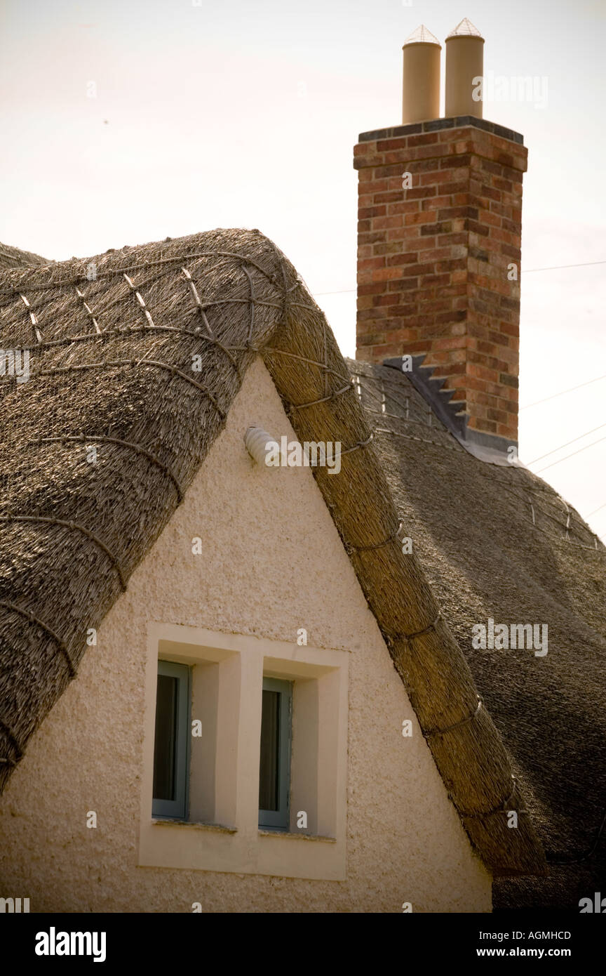 Newly Thatched Roof on refurbished cottage - Stock Image
