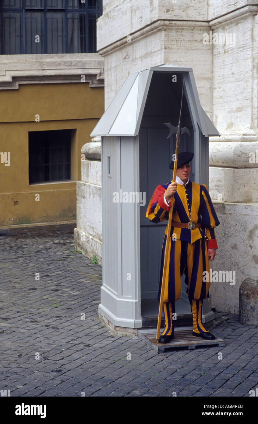A Swiss Guard on duty at the Vatican in Rome Italy - Stock Image