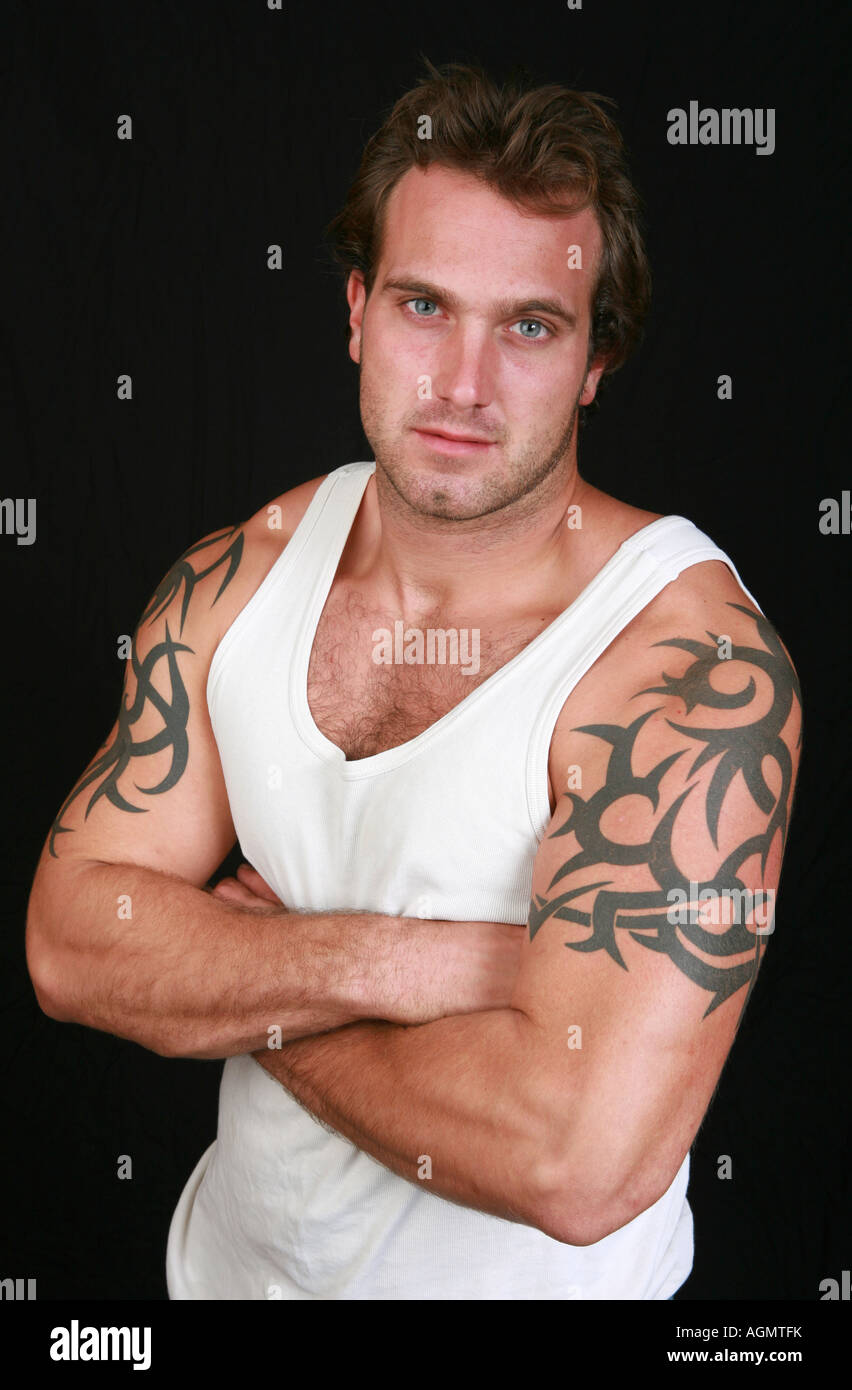 upper arm young tattoos male attractive 20s heavy healthy alamy