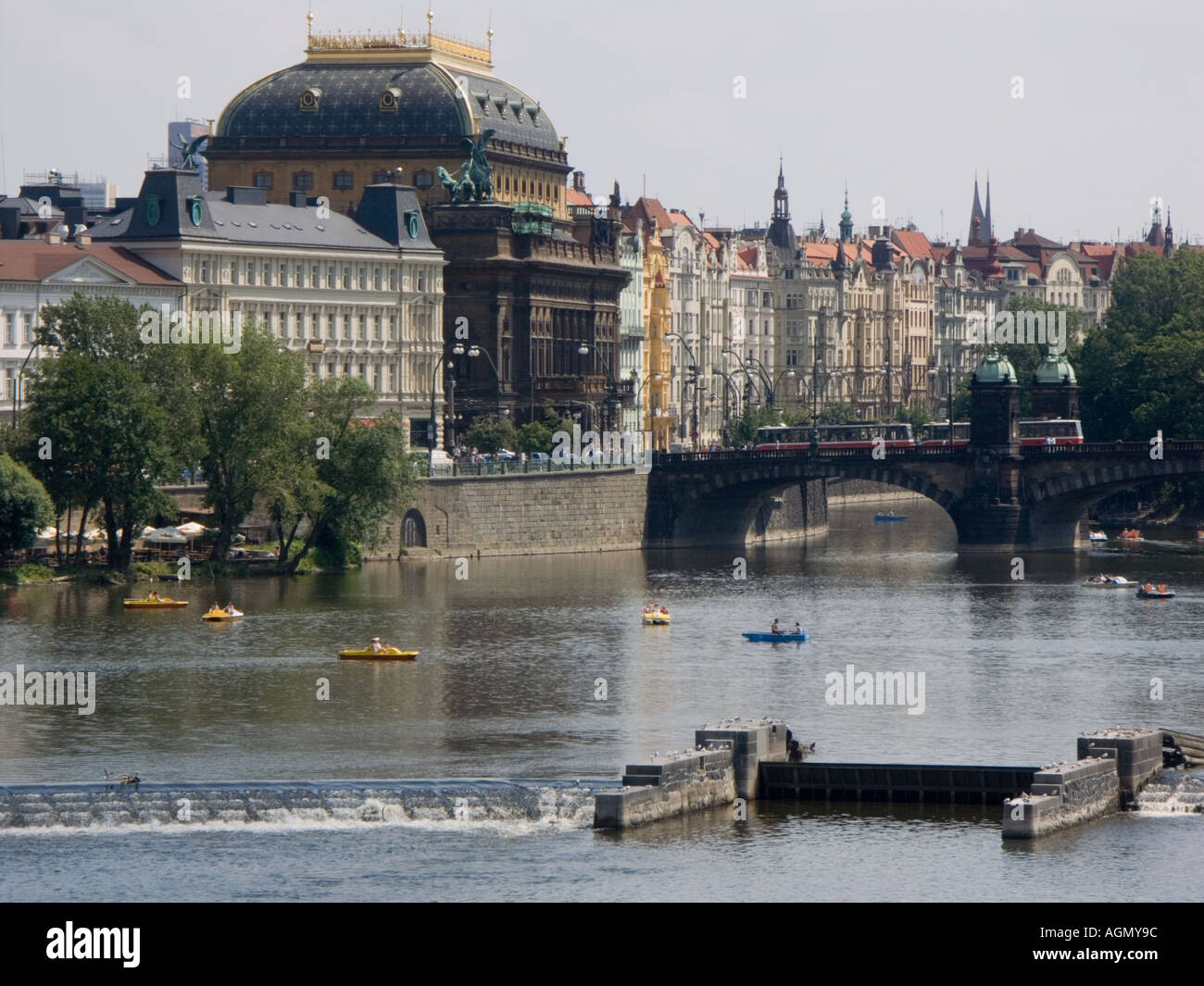 Vltava river excursion Prague with the National State Theatre in the background - Stock Image